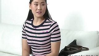 Asian model fingers lesbian female agent - 6:00
