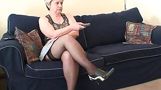 Old bitch takes two cocks after masturbation - 6:00